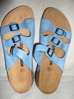 Sandales confort bleu acier cuir