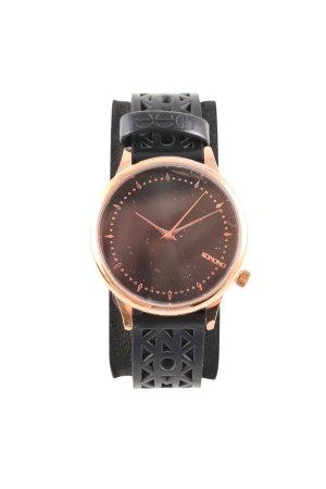Komono Uhr mit Lederarmband schwarz-goldfarben Business-Look