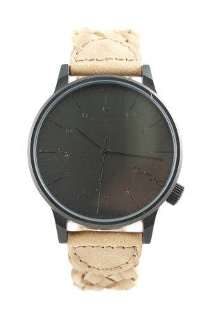 Komono Horloge met lederen riempje zwart-beige Webpatroon casual uitstraling