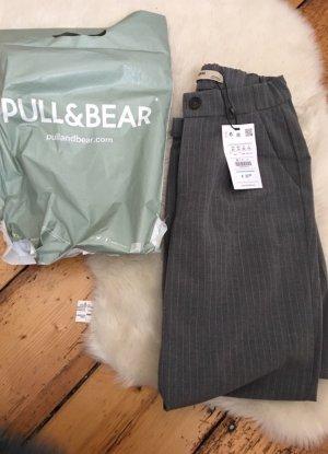 Pull & Bear Pantalon taille haute gris clair-blanc