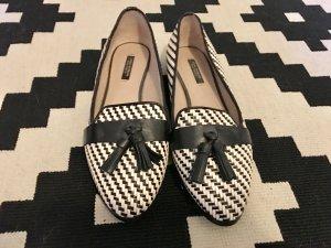 Zara Slippers black-white leather