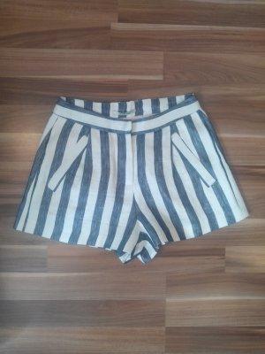 konfektionierte Shorts Short Bermuda kurz Mini Anzughose Luxus edel marine navy dunkelblau offwhite