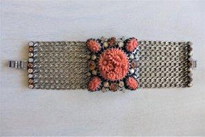 Konplott Armband Victoria silber koralle breit Blüte Blume Swarovski NEU