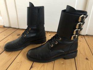 Konstantin Starke Designer Stiefeletten Stiefel Boots Schnürer Schnallen Biker schwarz Leder