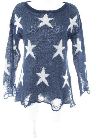 Kontatto Strickpullover dunkelblau-weiß Sternenmuster Casual-Look