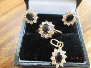 Konvolut Ring, Ohrringe und Anhänger 14 K Gold Aghat und Zirkonia
