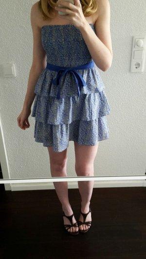 Kookai Bandeau Kleid Sommerkleid blau kurz Rüschen Stufenrock S 36 Baumwolle