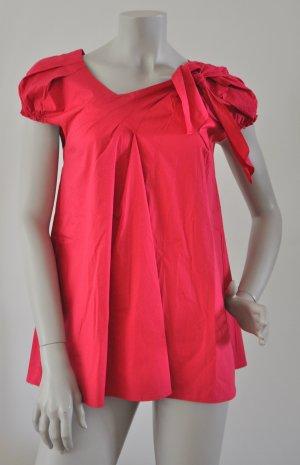 Kookai Bluse mit Knotendetail A-Form Baumwolle Elasthan fuchsia 36 UNGETRAGEN