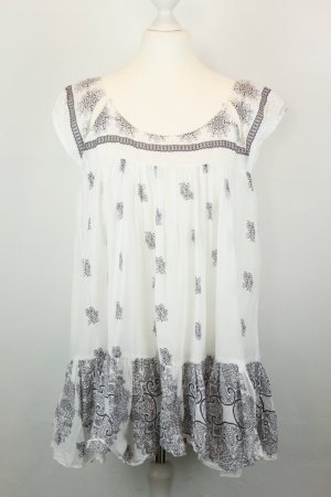 Kookai Bluse Schlupfbluse Gr. 42 weiß schwarz boho Hippie