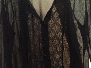 Kookai-Bluse schwarz, transparent, Spitze, extravagant!
