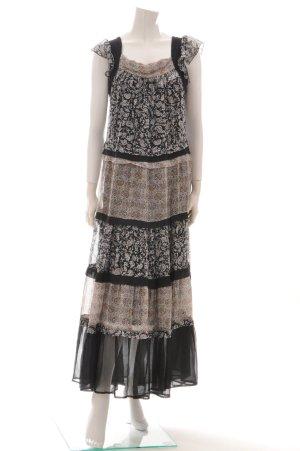 Kookai Boho Ethno Maxikleid mit Unterkleid Seide schwarz gemustert Gr. 38