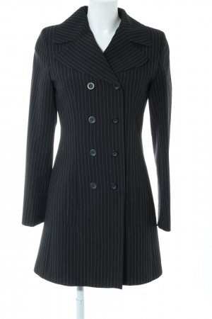 Kookai Heavy Pea Coat black-white striped pattern business style