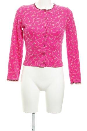 Kookai Cardigan pink-braun Blumenmuster extravaganter Stil