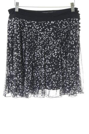 Kookai Faltenrock weiß-schwarz Farbtupfermuster Casual-Look