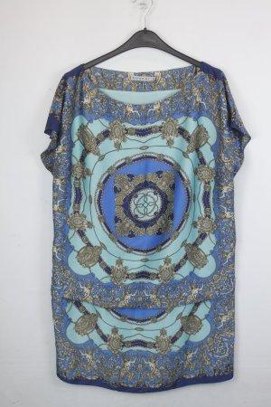 Kookai Kleid Blusenkleid Gr. 44/42 türkis/blau mit gold Print (18/5/578)