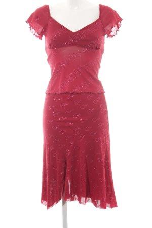 Kookai Traje para mujer rojo frambuesa estampado floral estilo fiesta