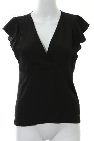 Kookai Kurzarm-Bluse schwarz grafisches Muster Elegant