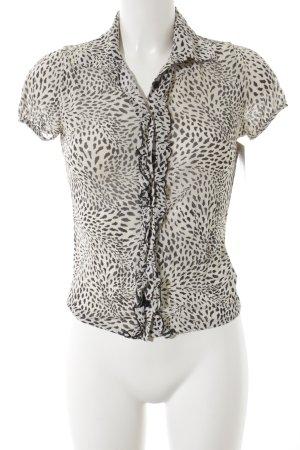 Kookai Kurzarm-Bluse schwarz-weiß Punktemuster Elegant