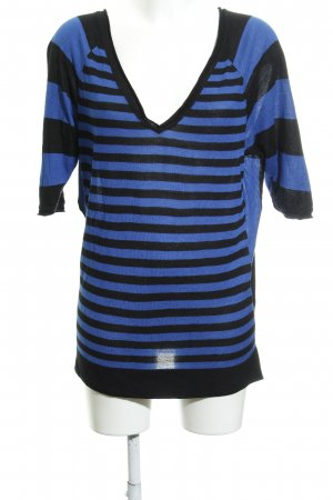 Kookai Kurzarmpullover schwarz-blau Streifenmuster Casual-Look