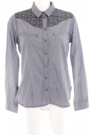 Kookai Long Sleeve Shirt steel blue graphic pattern casual look