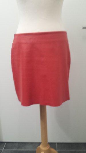 Kookai Leather Skirt red-brick red leather