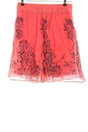 Kookai Jupe en lin rouge-noir motif de fleur style décontracté