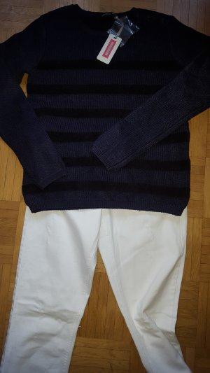 Kookai Pullover blau schwarz Marine Gr34 T1 neu
