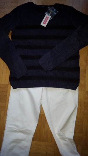 Kookai Pullover Blockstreifen blau/schwarz Gr34 T1 neu