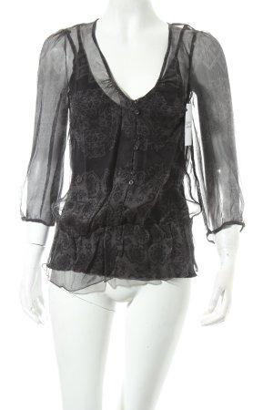 Kookai Seidenbluse grau-schwarz Casual-Look