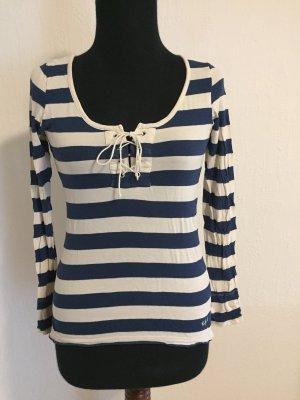 Kookai Gestreept shirt wit-blauw