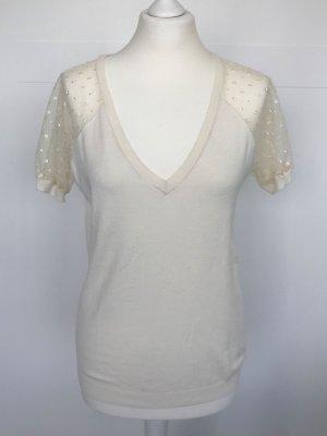 Kookai Shirt wollweiß mit transparenten getupften Ärmeln