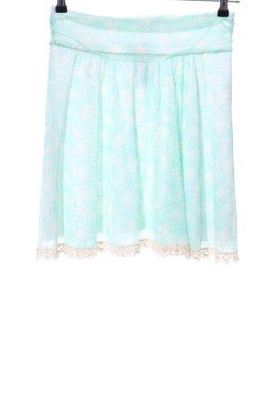 Kookai Skater Skirt turquoise-white flower pattern casual look