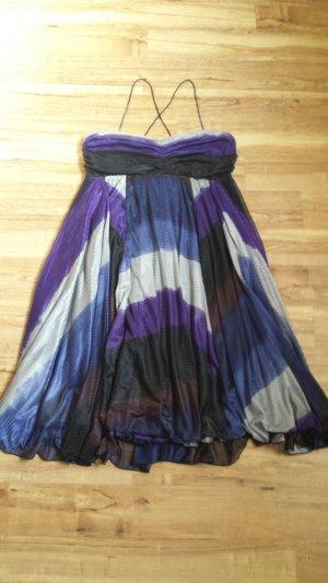 Kookai Sommerkleid Bandeaukleid schwarz grau blau lila