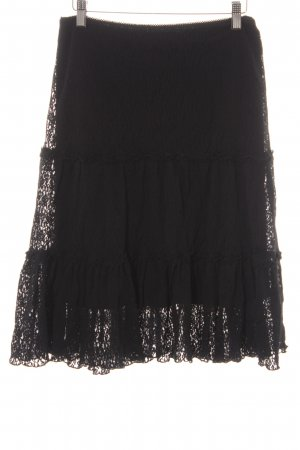Kookai Falda de encaje negro estilo romántico