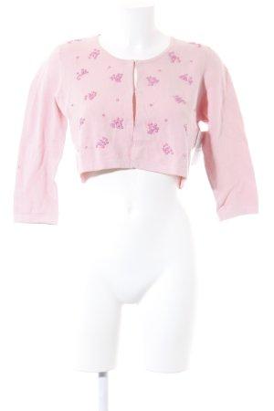 Kookai Strickjacke rosa-magenta Blumenmuster Romantik-Look