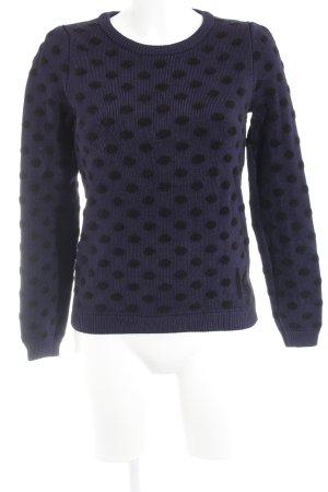 Kookai Strickpullover dunkelblau-schwarz Punktemuster Casual-Look