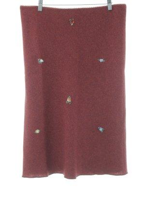 Kookai Gonna lavorata a maglia rosso mattone-carminio