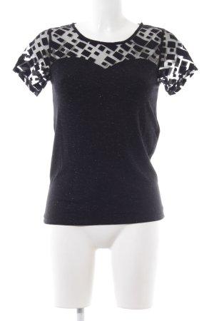 Kookai T-Shirt schwarz grafisches Muster Stoffeinsätze