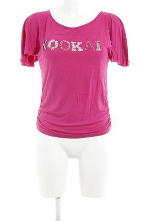 Kookai T-Shirt magenta-silberfarben Schriftzug gestickt Casual-Look