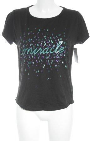Kookai T-Shirt Schriftzug gestickt Glanz-Optik