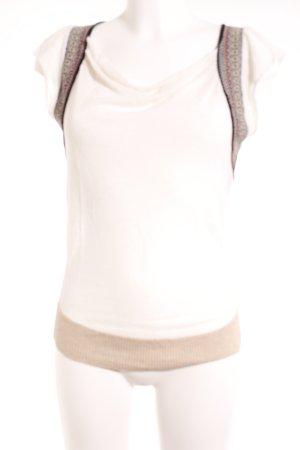 Kookai T-Shirt wollweiß-schwarz abstrakter Druck Casual-Look