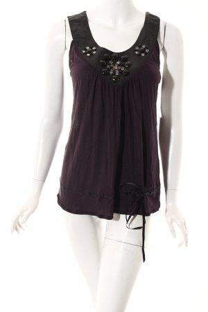 Kookai Top dunkelviolett-schwarz klassischer Stil