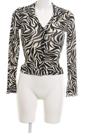 Kookai Transparenz-Bluse schwarz-wollweiß Allover-Druck Elegant
