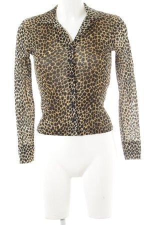 Kookai Blusa transparente negro-crema estampado de leopardo look casual