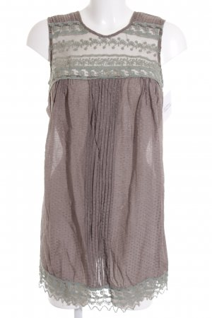 Kookai Tunic light brown-sage green loosely knitted pattern casual look