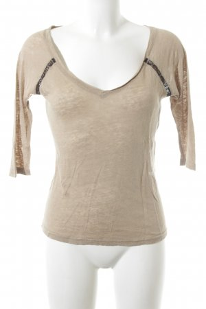 Kookai V-Ausschnitt-Pullover beige-dunkelbraun Casual-Look