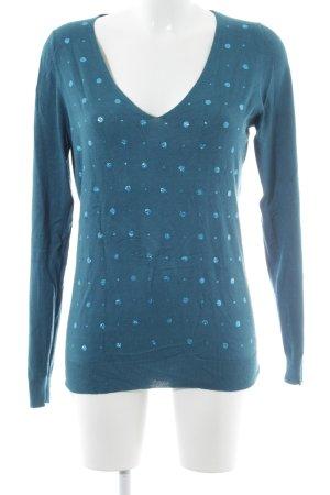 Kookai Jersey con cuello de pico azul acero estampado a lunares look casual
