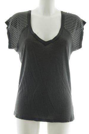 Kookai V-Ausschnitt-Shirt schwarz-weiß Mustermix Casual-Look