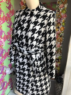 Kookai Manteau en laine noir-blanc