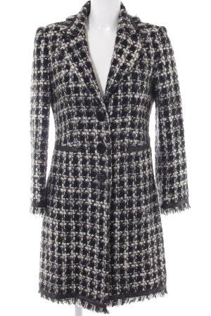 Kookai Wollen jas zwart-wolwit tafelkleed patroon casual uitstraling